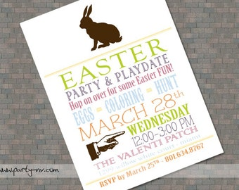 """PRINTABLE (5"""" x 7"""" Invite) - Hoppy Easter Collection"""
