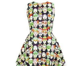 SALE Frida Day of the Dead Skater Dress