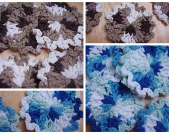 10 Scrubbies, Choose Blues or Browns Ombre,  100% Cotton, Facial Cleansing Pad, Reusable Cotton Rounds, Makeup Remover, Coaster