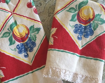 Pair of Mid Century Printed Table Runners Estate Find Country Farmhouse Fruit Theme, vintage kitchenware, farmhouse linens, cotton linens
