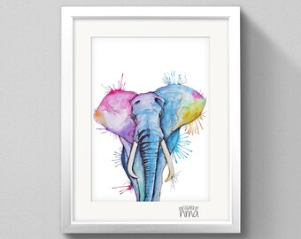 A4 Elephant Watercolour Print