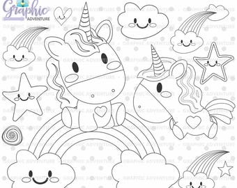 Unicorn Stamp, COMMERCIAL USE, Digi Stamp, Digital Image, Party Digistamp, Unicorn Coloring Page, Unicorn Clipart, Unicorn Graphics