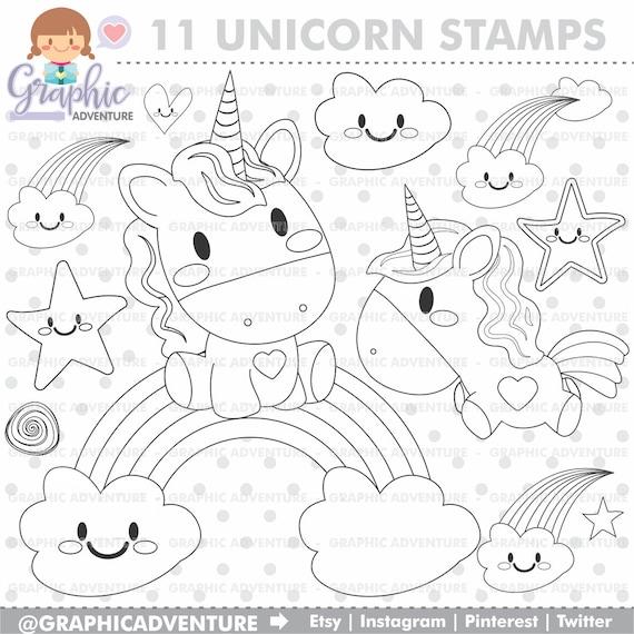 Unicorn stempel commercieel gebruik digi stempel digitaal - Libero unicorno pagine da colorare ...