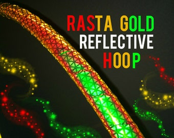 """Rasta Gold Reflective HDPE or Polypro 5/8"""" 3/4"""" Dance & Exercise Hula Hoop - NOT an LED hoop red gold green"""