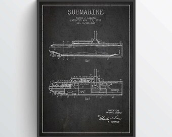 1919 Submarine Patent Poster, Submarine Print, Submarine Poster, Patent Art Print, Patent Print, Blueprint, Home Decor, Gift Idea, NA17P