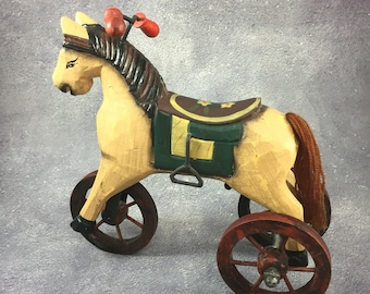 Primitive, Country Style Wooden Horse with Wheels