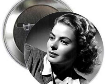 "INGRID BERGMAN - Huge 3"" collectible pinback button - Classic Movie Stars Collection"