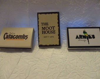 Collectible Tobacciana Match Boxes- Arnies Chicago Nicos Catacombs The Moot House