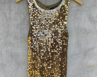 Vintage Gold Sequin JS Collection Tank Top Size M