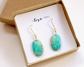 Amazonite Earrings, Gold Earrings, Earrings, Madagascar Amazonite, Gift Boxed Earrings, Gift for Her, Gift for Wife, Gemstone Earrings 1A