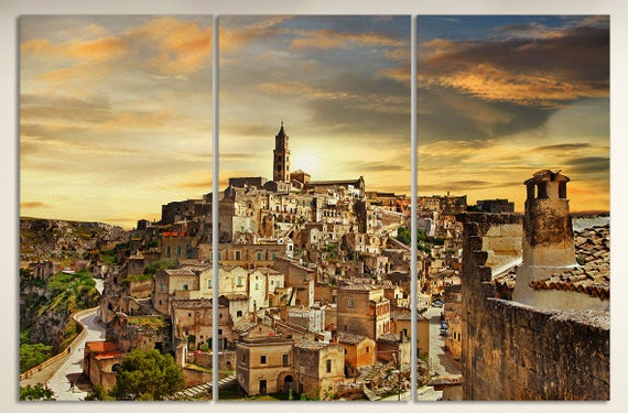 3 Pieces Matera Italy Leather Print/Large Wall Art/Matera