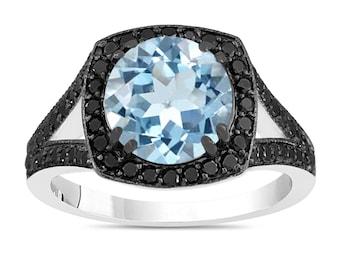 Aquamarine Cocktail Ring, Aquamarine And Fancy Black Diamonds Statement Ring 14K White Gold 2.89 Carat Unique Halo Pave Handmade Certified
