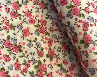 Pink Ditsy Floral Polycotton Fabric