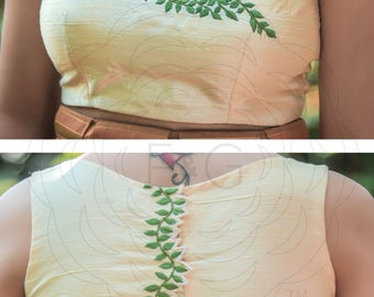 Cream Raw Silk Blouse Material With Green Foliage Embroidery and Ribbonwork Flowers