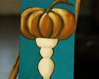 Autumn Decor - Admired - Pumpkin on a Pedestal - Fall, Halloween - Whimsical Acrylic Painting - Original Art