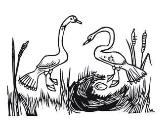 Two swans - lino cut print, swan, birds, bird art, lino, printmaking, black and white, handmade, nest, original, wildlife,
