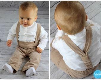 beige baby boy trousers toddler boy pants needlcord pants suspender pants
