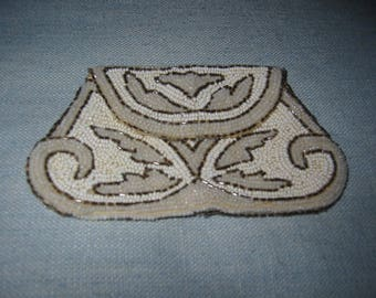 Hand Beaded French Clutch Coin Purse Primitive Handle Labeled France
