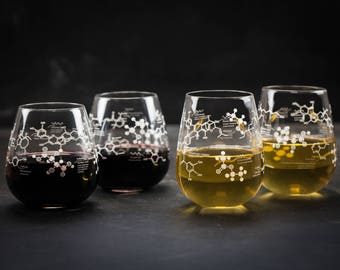 Chemistry of Wine Red & White 4-pack Stemless Glass Set   But First Wine, Girlfriend Gift, Gifts for Men, Gifts for her, Wine Science