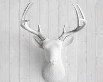 White Faux Deer Head + Silver Antlers by Wall Charmers™ Faux Taxidermy - Resin Animal Head Fauxidermy Deer Head Wall Mount