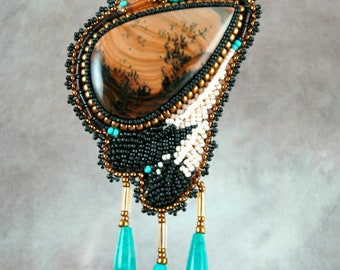 Necklace, Picture jasper, feathers,  brown, turquoise, Beaded, Bead embroidered