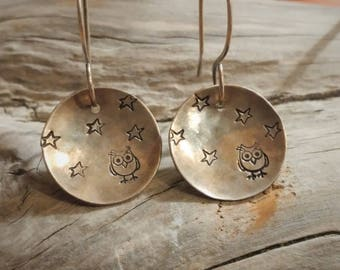 Night Owl Earrings - Sterling silver earwires, hand stamped sterling silver filled disc