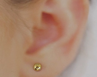 Gold disc stud earrings ,mini tiny  Gold Post Earrings- domed  disc 4 mm