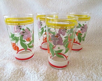 vintage tumblers, lemonade glasss, water glasses, set of 4
