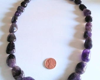 Tumbled Amethyst Bead Necklace