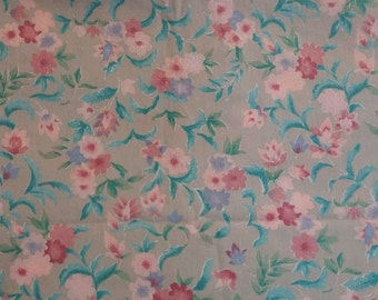 Gray and Pink Floral Cotton Fabric Fat Quarter