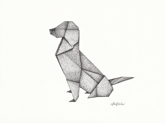Origami Dog Pen And Ink Drawing With Frame
