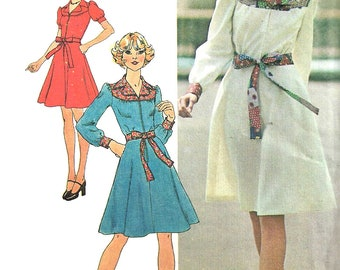 1970s Dress Pattern Vintage Yoked Front ZipTie Ends Uncut Sewing Simplicity Women's Misses Size 10 Bust 32. 5 Inches