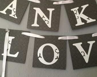 Set of five wedding banners/ thank you banner/ live banners/ just married banner/  bride  to  be  banner handmade banners