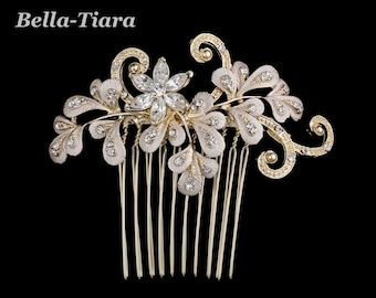gold champagne bridal hair comb, wedding crystal hair comb,  champagne wedding ivory comb, gold wedding hair accessory, bridal comb