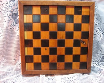 Handmade Cherry Wood Chess Board Salvaged Cherry Barnwood from 1830's Barn Beams, carved chess pieces, Heirloom Chess Set