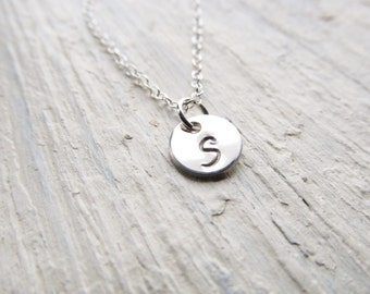 Initial Necklace Sterling Silver, Engraved Necklace, Personalized Necklace, Silver Initial Disc Charm, Layering Necklace, Tiny Initial