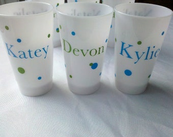 ON SALE. LED light up cups. Fun gift for kids for birthdays, parties, and weddings. Personalized with name. Add fun polka dots.