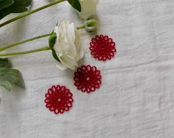 Hand CrochetedSmall Cardinal Red Medallion - Set Of 3