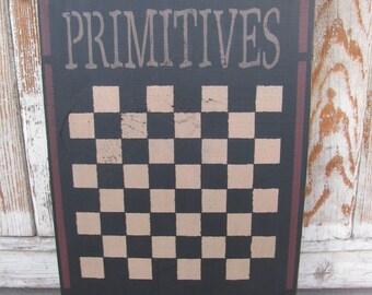 Primitives Star Hand Stenciled Wooden Checker Game Board  GCC05088