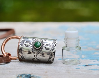Copper + Sterling Roller Ball Vial Necklace . Essential oil . Lip Gloss . Perfume .Rustic. Necklace. Turquoise #2