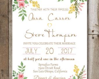 Wedding invitation with flowers, Wedding invitation template Wedding invitation printable Wedding invite, Wedding invitations Printable