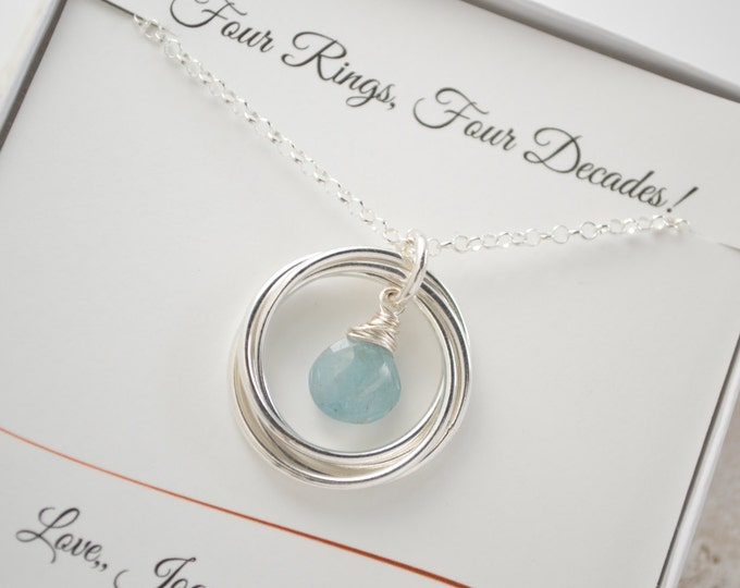 40th birthday gift for women, 4th anniversary gift for wife, Aquamarine birthstone necklace,Gift for girl friend, March birthstone necklace