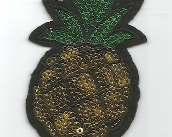 Gold Green Pineapple Fruit Delicious Sequin Embroidered Iron on Patch Applique az415169