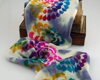 Single Knit Sock Blanks- Psychedelic Flower- Dappled gray and white under dye with bright stenciled flowers on top