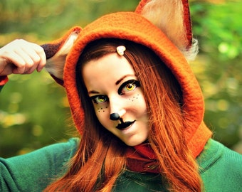 Fox Hat. Fox Ear Hood. Fantasy Hat. Cosplay Hat. LARP.