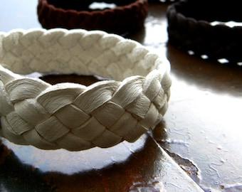 Sara Leather Bracelet, Braided Leather Bracelet, Men's Women's Childrens Woven Cuff Bracelet, Stacking Wrist Band, Boho Gypsy Hippie Jewelry