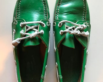 Quoddy Moccasin Shoe - Amazing! - Kelly Green Boat Shoes - USA Made - Ultimate Preppy - Hand Made in Maine
