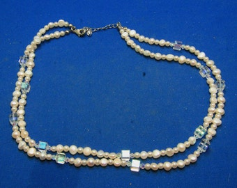 Vintage Freshwater White Pearl And Crystal Multistrand Necklace