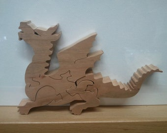 Dragon Looking Up Wooden Puzzle Cherry  Hardwood