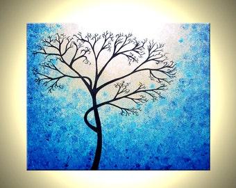 "Original Abstract Tree Painting, TEXTURED Cherry Blossom, Blue Tree, Abstract BLUE White Tree Painting, Palette Knife Art 30x24"" Lafferty"